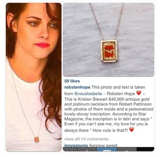 Kristen's Necklace - robert-pattinson-and-kristen-stewart Photo