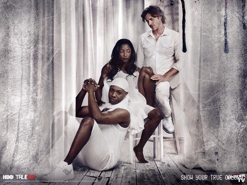 true blood wallpaper probably with a fonte titled Lafayette, Sam, and Tara