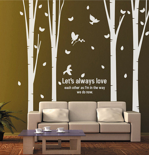 Let's Always Love Each Other Birch Tree Wall Sticker