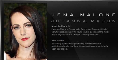 Official Catching आग Casting news: Jena Malone is Johanna Mason.
