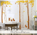 Rabbits and Birds play in the Forest Wall Stickers