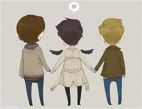 Sam, Cas and Dean