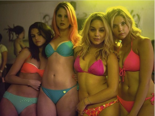 Selena Gomez karatasi la kupamba ukuta containing a bikini, bikini pants, and a g string titled Selena Gomez, Ashley Benson, Vanessa Hudgens and Rachel Korine