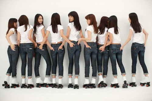 Girl's Generation/SNSD karatasi la kupamba ukuta possibly containing bellbottom trousers, a well dressed person, and long trousers called Sexy Butts' Generation