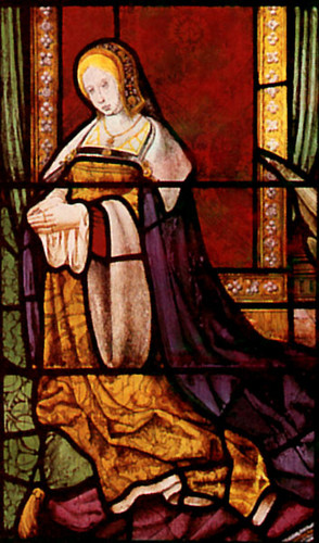 Stained glass portrait of Queen Katherine