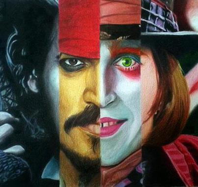 Johnny Depp wallpaper possibly with anime titled The 4 Faces of Johnny Depp