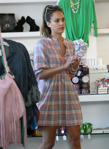 The Alba-Warren family Shops Kitson [July 22, 2012]