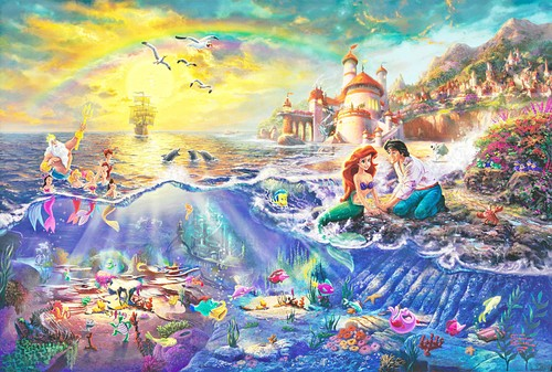 những nhân vật của Walt Disney hình nền probably containing anime entitled Thomas Kinkade's Disney Paintings - The Little Mermaid
