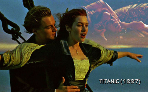 cine fondo de pantalla probably with a triceratops and a sign called titanic 1997
