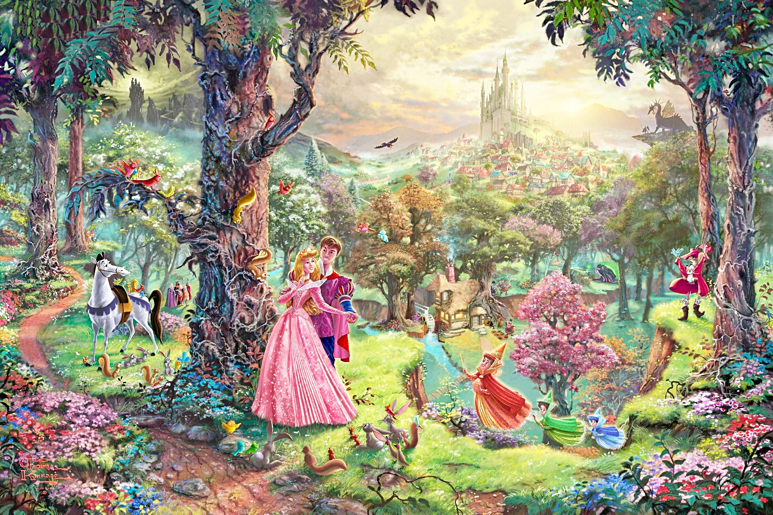 Thomas Kinkade's ディズニー Paintings - Sleeping Beauty