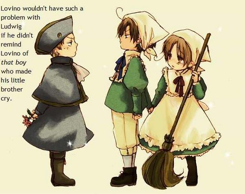 Hetalia wallpaper possibly with a surcoat, a tabard, and anime entitled Why Romano hates Germany
