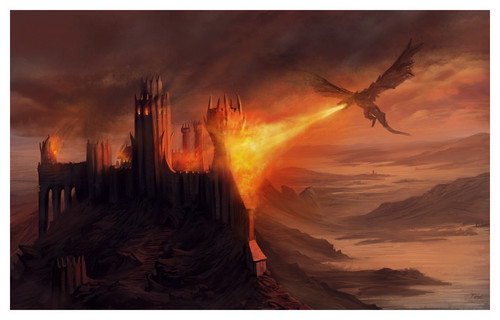 A Song of Ice and Fire wallpaper with a sunset called The fall of Harrenhal