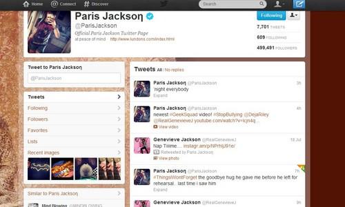 paris jackson&#39;s tweet </3 :(
