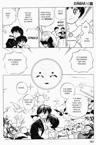 "ranma 1/2 manga pg. ""The reversal jewel forces Akane to admit her true feelings."""