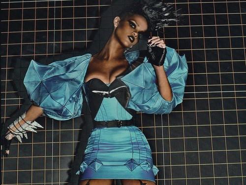 Rihanna vogue aquamarine dress