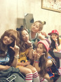 A Pink Group Selcas on their set of My My