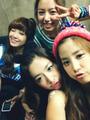 A Pink Group Selcas on their set of My My- Eunji, Namjoo, Bomi and Chorong