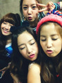 A Pink Group Selcas on their set of My My- Eunji, Namjoo, Bomi and Chorong
