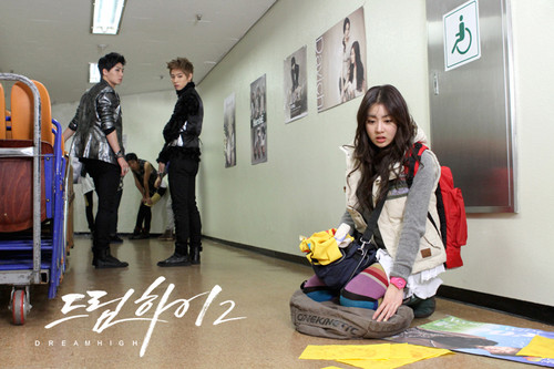 Dream High 2 wallpaper with a street and a sign called  Behind The Scene Dream High 2 - Part 2