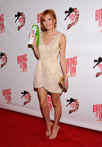 "Bella Thorne wallpaper probably containing bare legs, a frock, and a dress entitled ""Bring It On: The Musical"" Broadway Opening Night - Arrivals"