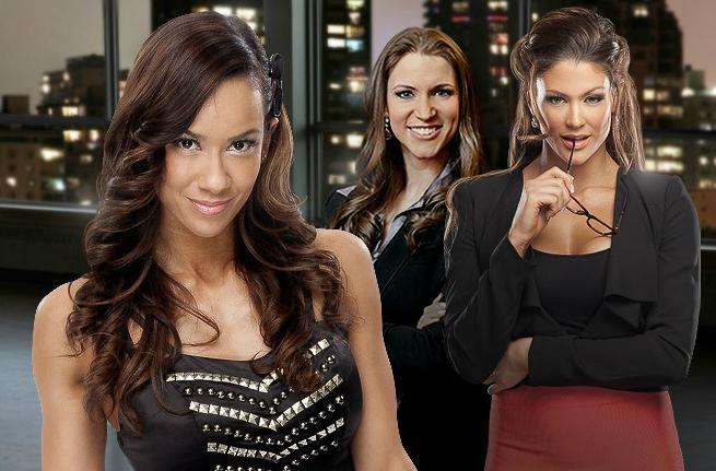 Wwe Divas Aj Lee Stephanie Mcmahon Eve Torres