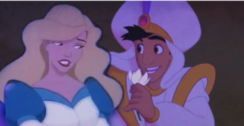 disney crossover wallpaper probably containing anime titled Aladdin and Odette <3