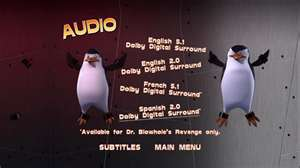 Audio Selection Screen for Operation: Blowhole DVD