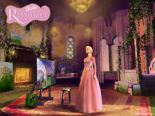 Barbie Princess wallpaper probably containing a dinner dress, a bridesmaid, and a gown titled Barbie As Rapunzel