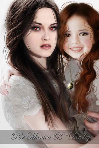 la saga Twilight fond d'écran containing a portrait called Bella & Renesmee
