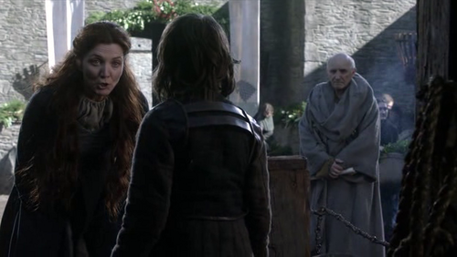 Catelyn and Bran with Luwin