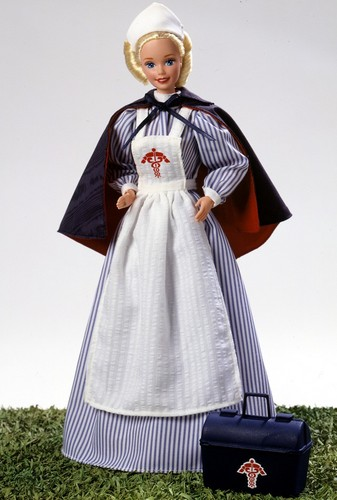 Barbie: Dolls Collection wallpaper probably with a kirtle and a polonaise entitled Civil War Nurse Barbie® Doll 1996