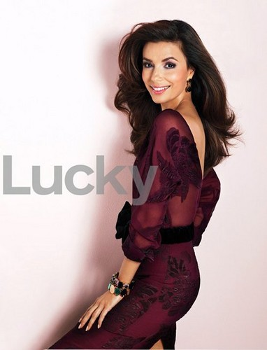 Eva Longoria wallpaper possibly containing a hip boot, a stocking, and a playsuit called Eva on the cover of the September 2012 issue of Lucky