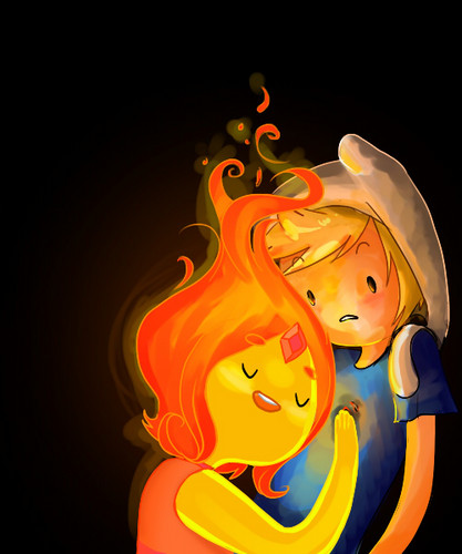 Adventure Time With Finn and Jake wallpaper entitled Finn and Flame princess
