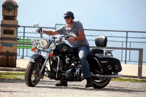 George Clooney Rides Around Lake Como [July 25, 2012]
