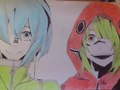 Hatsune Mikuo and Megpoid Gumo/Gumiya - vocaloids fan art
