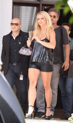Heads to X-Factor Bootcamp In Black Leather Cut Offs In Miami [July 2012] - britney-spears Photo