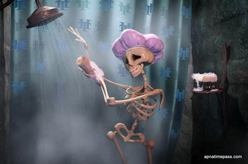 I'm just a skeleton taking a shower!