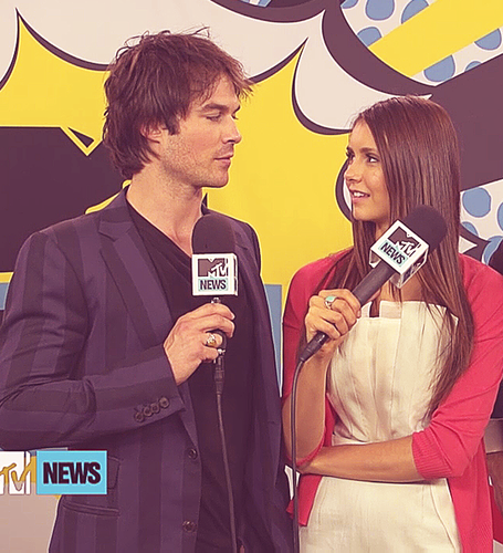 Ian Somerhalder and Nina Dobrev wallpaper probably with a business suit and a portrait called Ian/Nina ღ