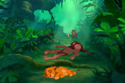 croisements Disney fond d'écran called In the jungle Tarzan and Simba sleep (not) tonight