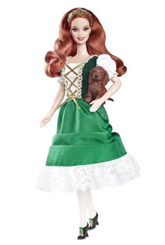 Barbie: Dolls Collection wallpaper probably containing a polonaise, a kirtle, and a hoopskirt entitled Ireland Barbie® Doll 2012