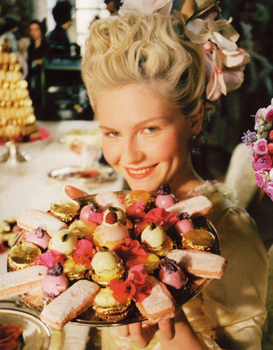 "Kirsten Dunst wallpaper containing a bouquet, a rose, and a japanese apricot titled Kirsten behind the scenes of ""Marie Antoinette"""