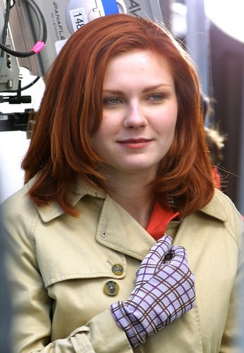 "Kirsten Dunst wallpaper probably with a trench coat, a box coat, and a pea jacket called Kirsten behind the scenes of ""Spider-Man"""