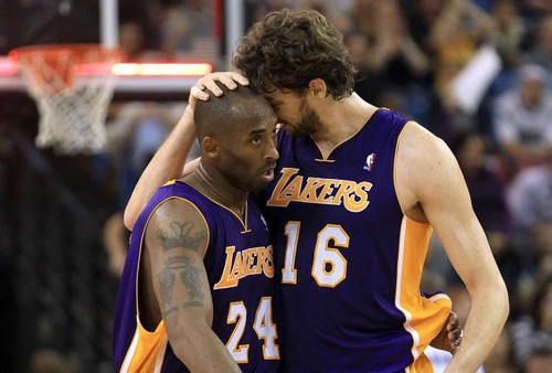 Los Angeles Lakers 壁纸 with a 篮球 player entitled Kobe and Pau