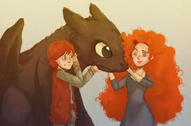 Merida Meets Toothless and Hiccup