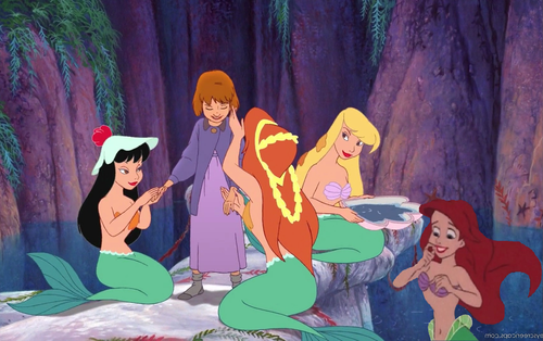 Disney crossover karatasi la kupamba ukuta probably with anime entitled Mermaids of Neverland