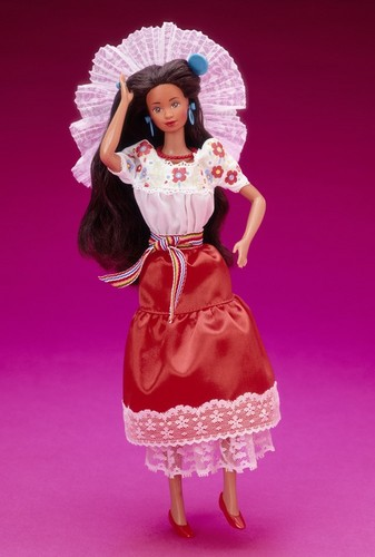 Barbie: Dolls Collection wallpaper probably containing a polonaise entitled Mexican Barbie® Doll 1st Edition 1989