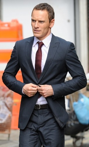 Michael Fassbender on the set of The Counselor in London August 2012