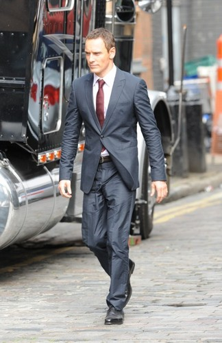 Michael Fassbender wallpaper with a business suit, a suit, and a three piece suit entitled Michael Fassbender on the set of The Counselor in London August 2012