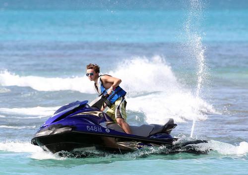 Nathan Sykes Jetskiing at Sandy Lane strand in Barbados