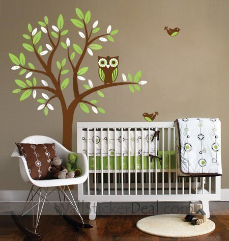 Owl On Tree With Flying Birds Wall Sticker